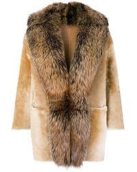 DESA NINETEENSEVENTYTWO - Racoon Fur Trimmed Coat - Lyst