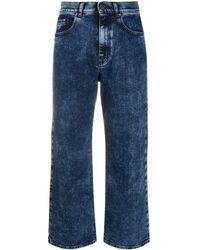 P.A.R.O.S.H. Cropped Stone Wash Jeans - Blue