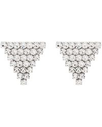 Alessandra Rich Triangle Crystal Stud Earrings - Metallic