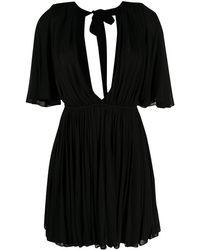 Saint Laurent - Расклешенное Платье С Глубоким Декольте - Lyst