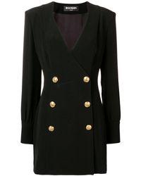 Balmain Vestido con botones con detalles en relieve - Negro