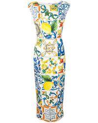 Dolce & Gabbana - Majolica Print Fitted Dress - Lyst