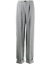 Emporio Armani Micro-check Loose-fit Pants - Black