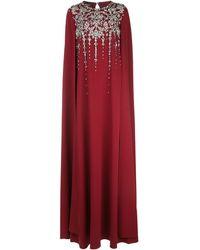 Oscar de la Renta Vestido estilo capa con apliques - Rojo