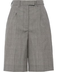 Prada Prince Of Wales Knee Shorts - Grey
