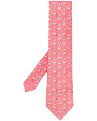 Hermès Cravatta con stampa 2010 Pre-owned - Rosso