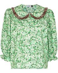 RIXO London Blusa Nika con motivo floral - Verde