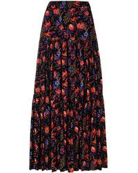 LaDoubleJ Floral Tiered Skirt - Zwart