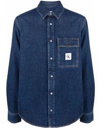 Calvin Klein Джинсовая Рубашка С Нашивкой-логотипом - Синий