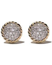 David Yurman - 18kt Yellow Gold Petite Pavé Diamond Stud Earrings - Lyst