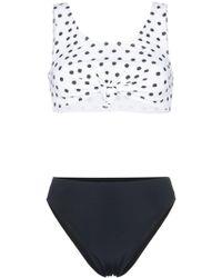 Beth Richards Heather Polka Dot Tie Top Bikini - Black