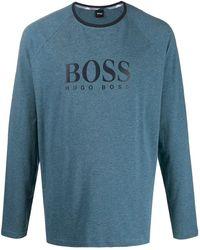 BOSS Pyjama mit karierter Hose - Blau