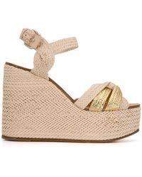Casadei Riviera Wicker Wedge Sandals - Pink