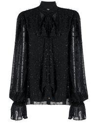 Balmain Блузка С Эффектом Металлик - Черный