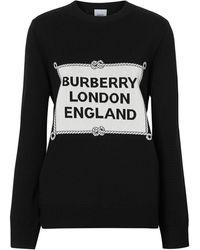 Burberry Rigging Intarsia Merino Wool Jumper - Black