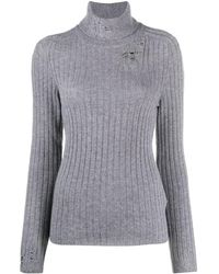Maison Margiela Distressed Knitted Sweater - Gray