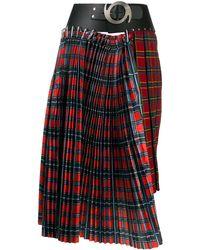 Chopova Lowena Check Asymmetric Skirt - Red