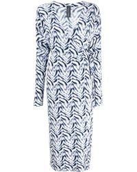 Norma Kamali Chevron Zebra Print Wrap Dress - Blue