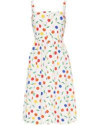 HVN Laura Rainbow Cherry Print Sleeveless Midi Dress - Yellow