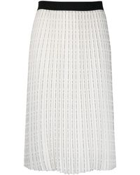 Karl Lagerfeld Falda plisada con estampado del logo - Blanco