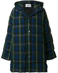 MSGM Plaid Quilted Coat - Синий