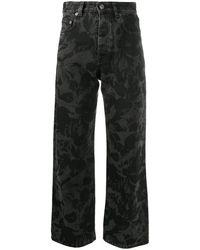 Balenciaga フローラル クロップドジーンズ - ブラック