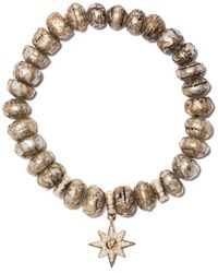Loree Rodkin 14kt Gold Diamond Stretch Etched Pearl Bracelet - Multicolour