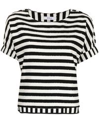 MILLY Julie Striped Cotton T-shirt - White