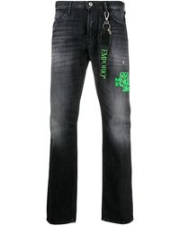 Emporio Armani Mid Rise Straight Leg Jeans - Blue