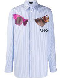 Versace メデューサ Biggie ストライプ シャツ - ブルー