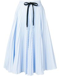RED Valentino - Striped Pleated Skirt - Lyst
