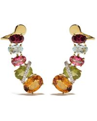 Brumani 18kt Yellow Gold Looping Shine Diamond, Topaz, Peridot, Citrine And Quartz Earrings - Multicolor
