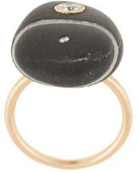 CVC Stones 18kt Yellow Gold Castle Rock Diamond Pebble Ring - Black