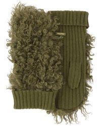 Miu Miu Knitted Shearling Gloves - Green