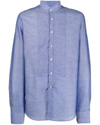 Dell'Oglio マンダリンカラー シャツ - ブルー