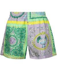 Versace Пижамные Шорты С Принтом Baroque - Зеленый