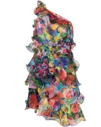 Marchesa notte One Shoulder Tiered Mini Dress