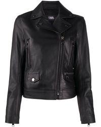 Karl Lagerfeld Ikonik Karl Leather Biker Jacket - Black