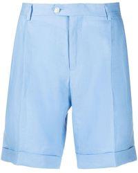 Billionaire Crest Linen Deck Shorts - Blue