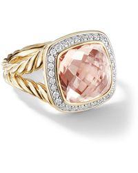 David Yurman 18kt Yellow Gold Albion Morganite And Diamond Ring - Metallic
