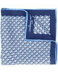 Ferragamo Foulard en soie à imprimé géométrique - Bleu