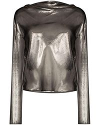 RTA Cowl Semi-sheer Blouse - Grey