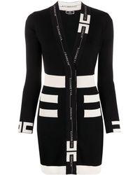Elisabetta Franchi Robe à bande logo - Noir