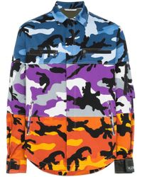 Valentino - Camouflage Print Panel Cotton Shirt - Lyst