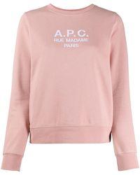 A.P.C. Толстовка Tina С Вышитым Логотипом - Розовый