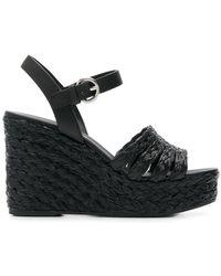 Prada - Raffia Wedge Sandals - Lyst