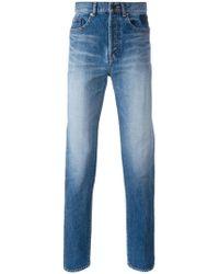 Saint Laurent - Embroidered Slim Fit Jeans - Lyst