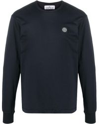 Stone Island Logo Patch Cotton Sweatshirt - Blue