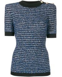 Balmain Top rayé en maille métallisée à manches courtes - Bleu