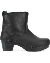 "No. 6 5"" Shearling Clog Boots - Black"